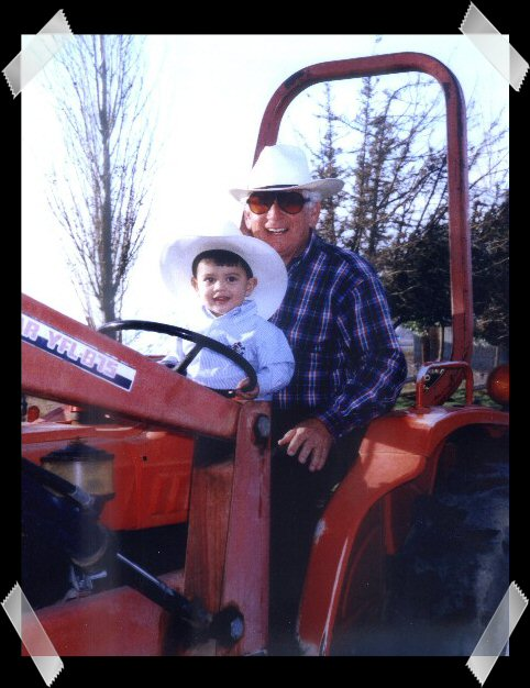 Dad and Anthony tractor sml framed
